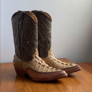 Embossed Full Leather Western Boots AlligatorPrint